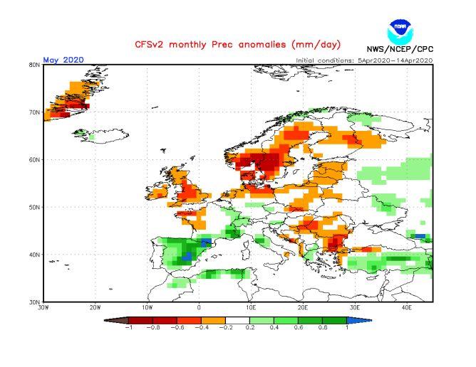 Prognozowane odchylenie miesięcznej sumy opadów w maju 2020 od normy wieloletniej (CFS/NOAA)