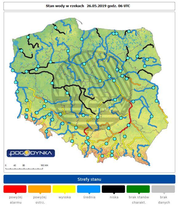 Stan wody w rzekach o godzinie 8 w niedzielę (pogodynka.pl/polska/hydro)
