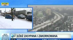 Łódź stoi przez opady śniegu (TVN24)